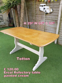 ERCOL dining table painted cream