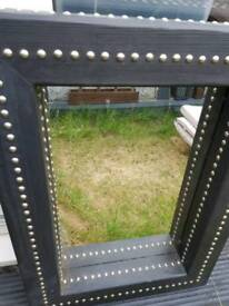 BLACK LARGE STUDDED CHUNKY WOODEN MIRROR GOTHIC