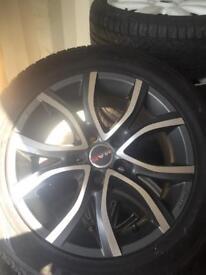 Set of four mak alloys with tyres jap Nissan Honda etc