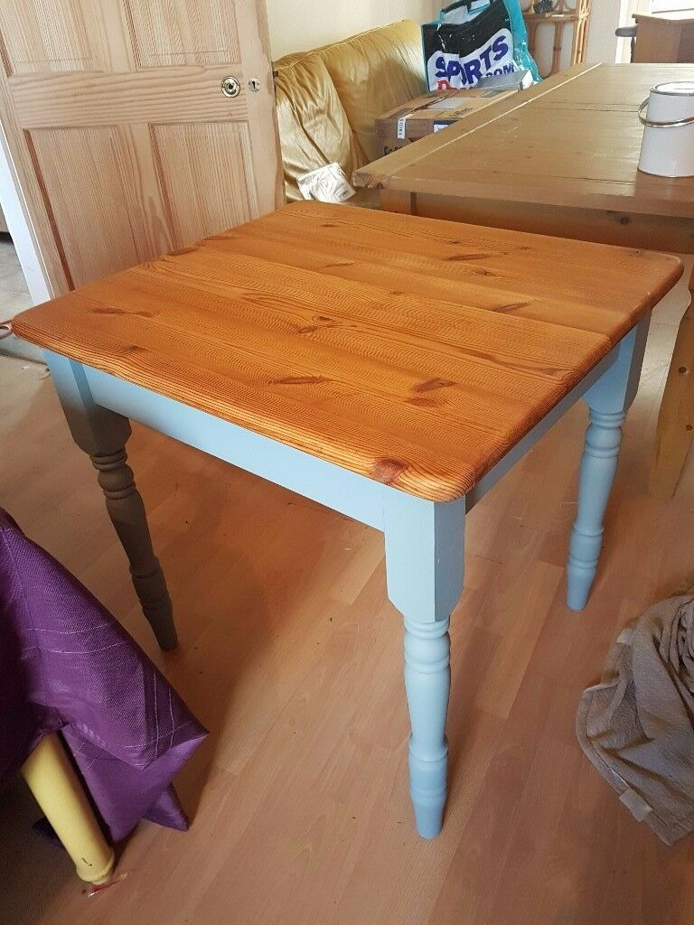 old square pine table painted blue/grey