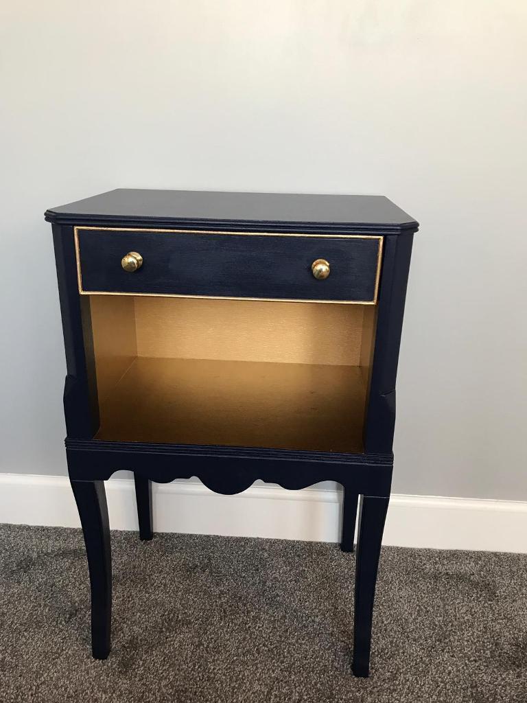 huge discount 35920 770e0 Vintage Navy Blue & Gold Bedside Side Table Unit.   in Sutton, London    Gumtree