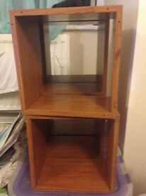 6 brown square shelves