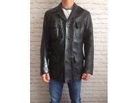 Vintage Black Leather Jacket Men's size S