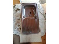 Kitchen sink and tap with worktops. Suitable for outhouse or similar. FREE