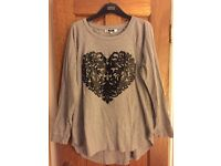 Ladies Grey Jersey Top with Black Heart Aplicque Detail
