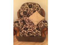 Three seater sofa, arm chair & pouffe for sale