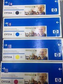 HP C9720A series toner cartridges - black, yellow, red, blue