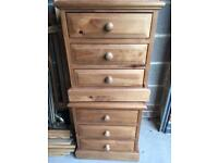 Double bed frame, bedside drawers & tall boy drawers