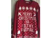 Merry Christmas ya Fifhy Animal Christmas Jumper Large
