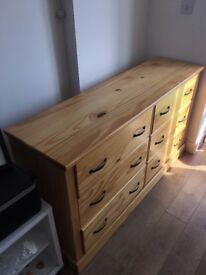 Solid pine drawers (H78cm W140cm D40cm) with wrought iron handles