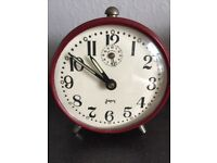 Japy small French vintage maroon alarm clock. Working.