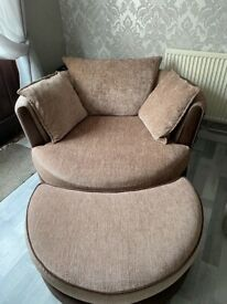 2 & 3 seater sofa with swivel cuddle chair