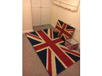 Union Jack mat,canvas, and Lamp shade