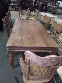 Rustic country kitchen table and 6 x chairs solid pine