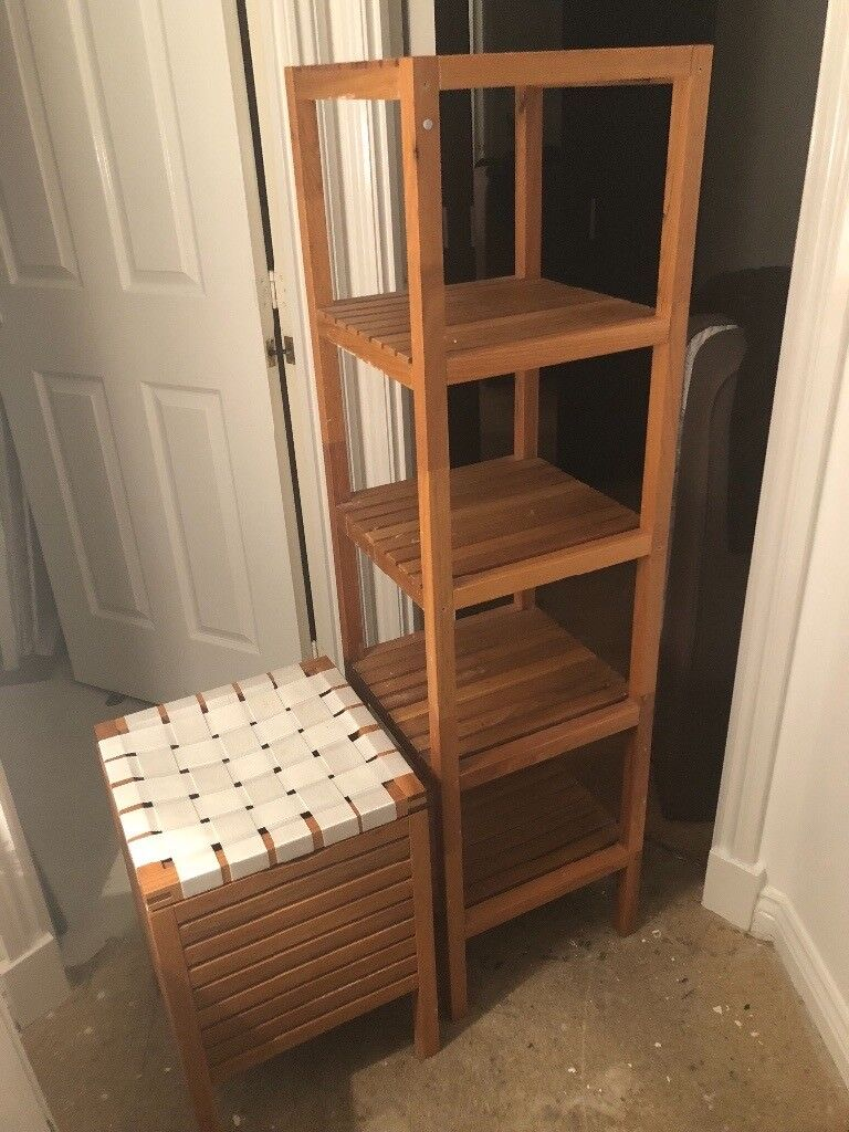 Bathroom Shelving Units | Wood Bathroom Shelving Unit And Boxed Seat Storage In Stepps