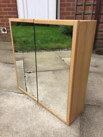 Ikea wooden bathroom cabinet cupboard mirror