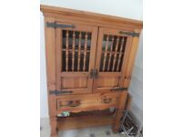 Feature solid wood, display or drinks cabinet, rustic design