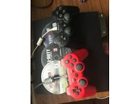 Sony Ps3 2 controllers, black ops 2 Fifa 15 Fifa 16, HDMI and 2 charging cables