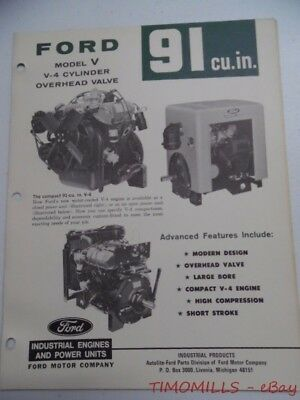 1968 Ford Power Products Model V 91ci Industrial Engine Catalog Brochure Vintage