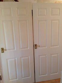 Pine internal 6-panelled doors (x2)