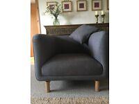 Stylish Scandinavian style nearly new Made com Becca grey marl armchair
