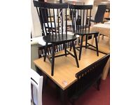 Extendable Table and 2 chairs + 2 Benches in black