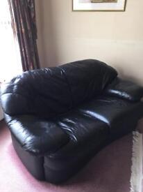 Large 3 Piece Italian Black Leather Suite