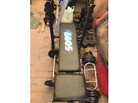 370kg+ gym set up long bar dumbells d bar ez bar solid cast iron weight plates