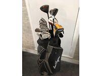 Bens hogans golf set . Full set of irons wood burner golf balls .