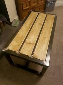 Handmade metal and wood coffee table