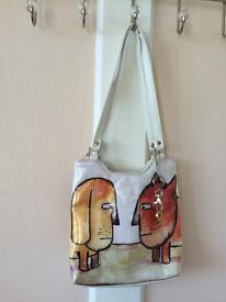 Girl shoulder bag, dog and cat faces, new
