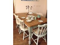 FARMHOUSE TABLE AND CHAIRS, Sanded and waxed scrub top and pale blue chalk painted legs