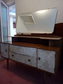 VINTAGE 1950'S BEDROOM SUITE - 2 WARDROBES & DRESSING TABLE - RETRO