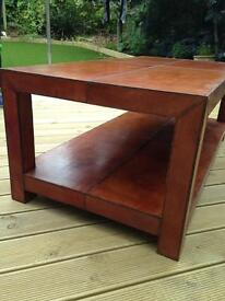 Coffee table with unusual leather effect finish