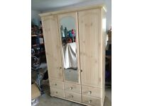 Limed oak wardrobe and chest of drawers with crystal handles