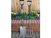 STAINLESS STEEL GARDEN FORK AND SPADE