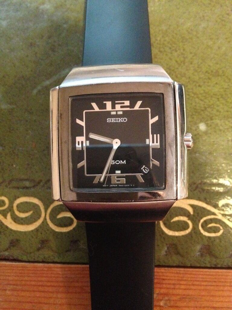 Mens Seiko Watch 34mm Black Rubber Strap £85.00 ONO