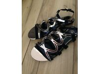 "Ladies ""River Island"" Gold And Black Sandals"