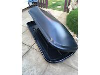 Large Matt black roof box and fixings