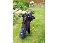 Pinseeker golf bag, stand and clubs