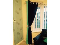 Black curtains with turquoise detail W 146cm, D 213cm