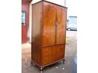 Vintage Beithcraft Furniture gentleman's double door wardrobe with shelving and 2 drawers, tallboy.