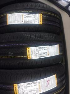 BRAND NEW NEVER MOUNTED HIGH PERFORMANCE ' H '  RATED CONTINENTAL PRO CONTACT 235 / 45 / 19  ALLSEASON TIRE SET OF FOUR.