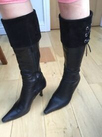 Clarks Black Leather Knee length Boots