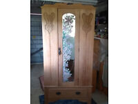 VICTORIAN WARDROBE with mirror and draw waxed finished