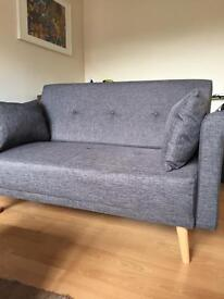 Argos home 2 seater charcoal grey fabric sofa in a box