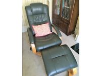 Green Leather Armchair and Footstool