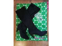 Black suede stretch boots from Boden. (Size 38/5) Never warn!