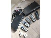 BIG BUNDLE 2 SKY HD BOXES, 5 REMOTES + LOTS MORE