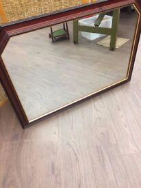 Modern wood framed mirror by Morris